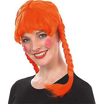Brat peruk vuxen orange ponny peruk tillbehör Carnival
