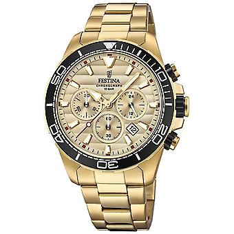 Festina Mens Gold Stainless Steel Chronograph Gold Dial F20364/1 Watch
