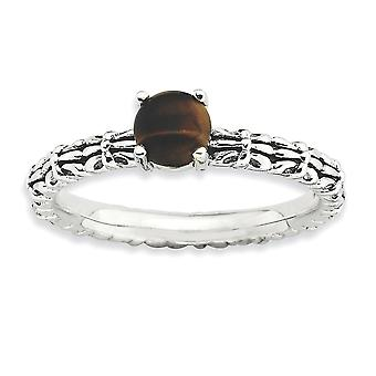 2.5mm 925 Sterling Silver Prong set finish Stackable Expressions Tigers Eye Ring Jewelry Gifts for Women - Ring Size: 5