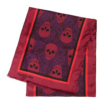 Simon Carter Printed Skulls Scarf - Red