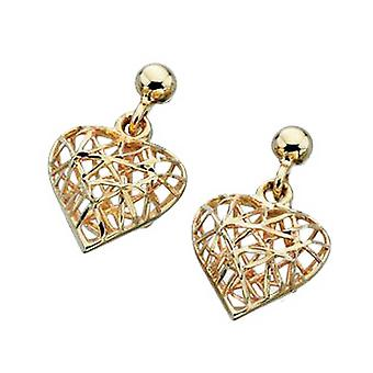 Elements Gold Caged Heart Drop Earrings - Gold