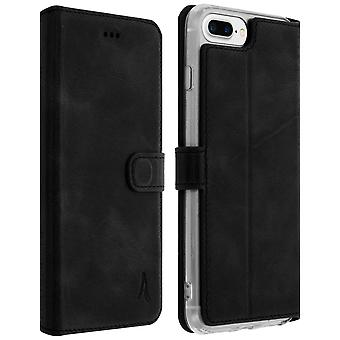 Akashi slim case, real leather wallet cover for iPhone 6+/6S+/7+/8+ - Black