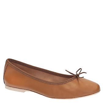 Håndlagde lys brun mykt skinn ballett leiligheter ballerinaer sko