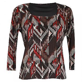 Hudson & Onslow Long Sleeve Aztec Print Jersey Top
