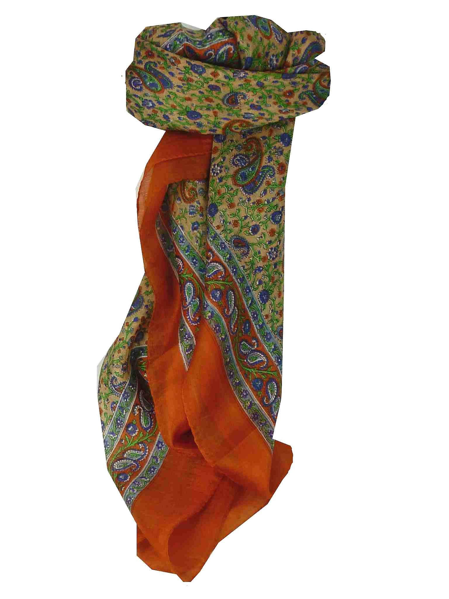 Mulberry Silk Traditional Square Scarf Abbe Tangerine by Pashmina & Silk