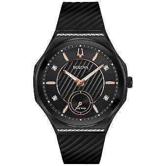 Bulova Women's Curv Diamond Set Black Rubber Strap 98R240 Watch