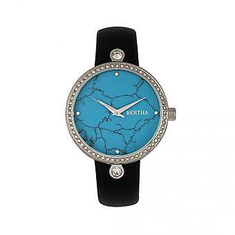 伯莎·弗朗西斯大理石表盘皮革带手表 - 黑色/塞鲁兰