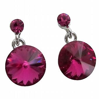 Shimmery Fuchsia Crystals Stud Earrings Gorgeous Stud Earrings