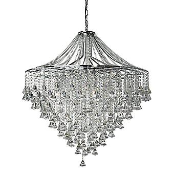 Dorchester Chrome And Crystal Seven Light Chandelier - Searchlight 3497-7CC