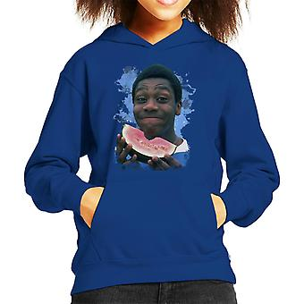 TV Times A Young Lenny Henry Eating A Watermelon Kid's Hooded Sweatshirt
