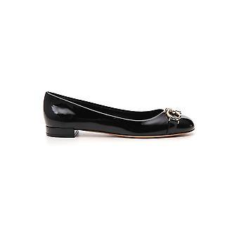 Salvatore Ferragamo 01p014704747 Women's Black Leather Flats