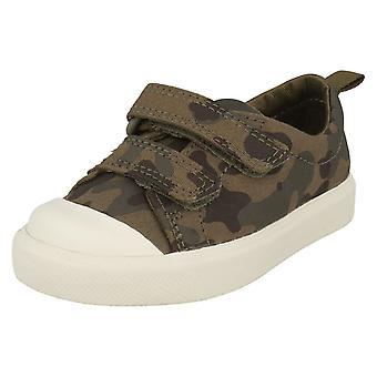 Детский мальчиков девочек Clarks шаблон подробно Холст обувь Сити Flare Ло T