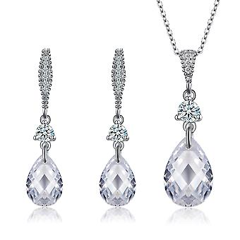 925 Sterling Silver Vintage Waterdrop Necklace & Drop Earrings Set
