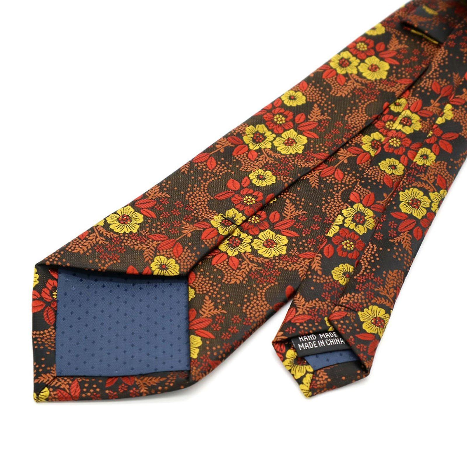 Bronze & yellow wedding floral tie & pocket square set