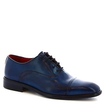 Leonardo Shoes Men's handmade cap toe laced up oxfords in blue calf leather