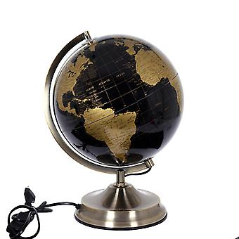 Globe valaistus d25cm Earth globs lamppu musta messinki kulta