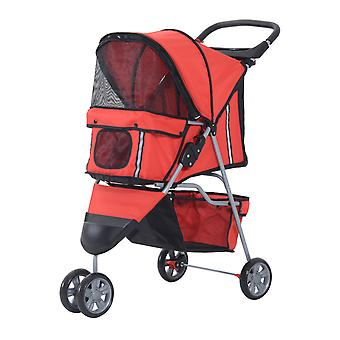 PawHut Pet Travel Stroller Cat Dog Pushchair Trolley Puppy Jogger Foldable Carrier Zipper Entry Three Wheels (Red)