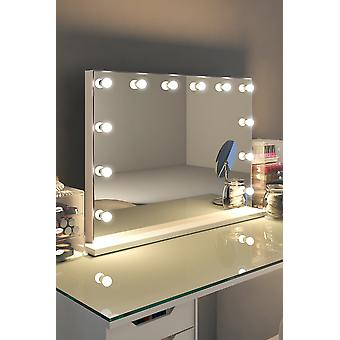 Diamond X Gloss White Hollywood MakeupMirror with Dimmable LED k313CW
