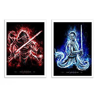 2 kunst-posters 30 x 40 cm-Duo Kylo ren en Rey-Barrett Bigger