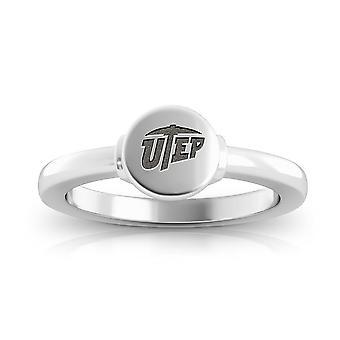 جامعة تكساس إل باسو نقش الجنيه الاسترليني فضة Signet خاتم