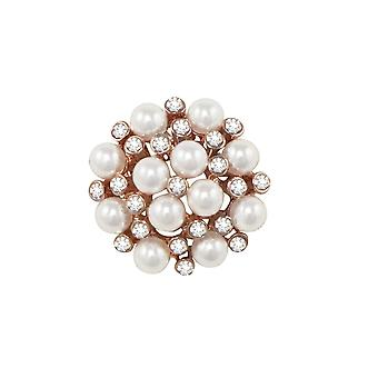 Eternal Collection Rapport White Pearl And Clear Crystal Rose Gold Tone Brooch