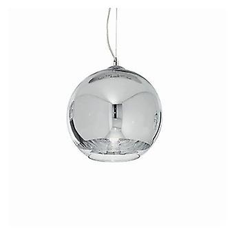 1 Light  Large Globe Ceiling Pendant Chrome