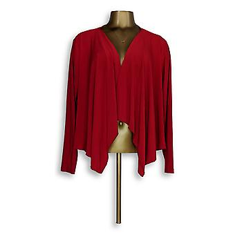 Attitudes by Renee Women's Petite Sweater XLP Liquid Knit Cardigan Red A306556