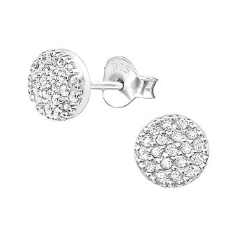 Round - 925 Sterling Silver Cubic Zirconia Ear Studs - W27474X