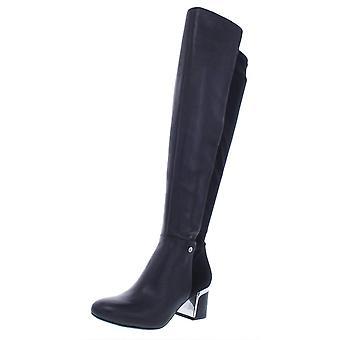 DKNY Womens Leather Almond Toe Knee High Fashion Boots