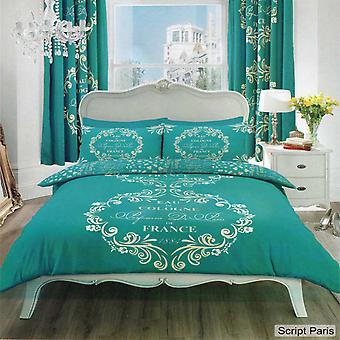 Script Paris Single Duvet Cover Bedding Set
