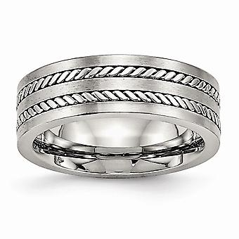Acier inoxydable Brossé et Poli Twisted 7.00mm Band Ring Jewelry Gifts for Women - Ring Size: 7 to 13