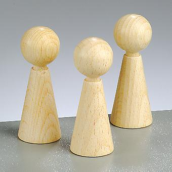 3 Wooden 6cm Cone Body Shapes   Wooden Shapes for Crafts