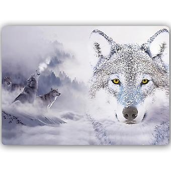 Metalen print, wolven winter