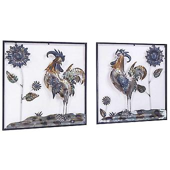Midnight Garden Roosters And Sunflowers Square Wall Panel- Set Of 2 - Metallic Multi-Color
