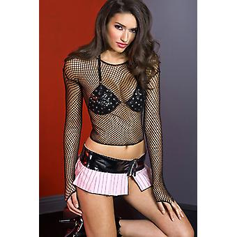 Fishnet Top With Long Sleeves-Black