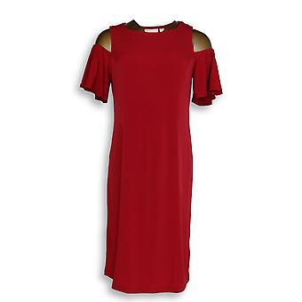 Belle by Kim Gravel Dress XXS Flirt Sleeve Cold Shoulder Brick Red A306980