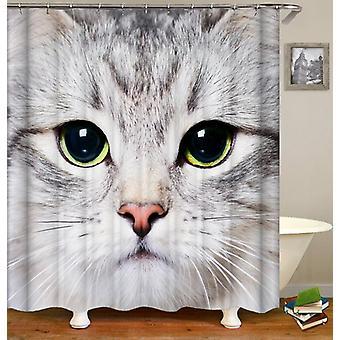 Grey Cat Face Shower Curtain