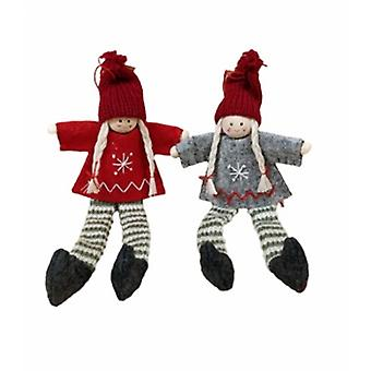 Sass & Belle Set of 2 Assorted Scandi Girl Christmas Decorations