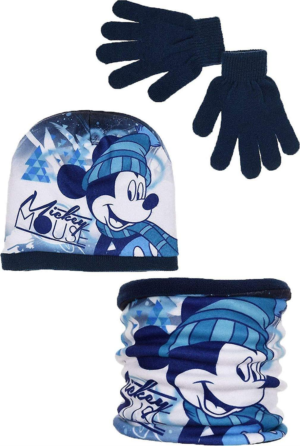 Boys HQ4331 Disney Mickey Mouse Winter Hat Scarf collar and gloves set