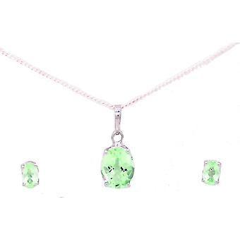 Vincenza semi-kostbare kristallen stenen geboortesteen ketting & oorbel set 925 sterling zilver