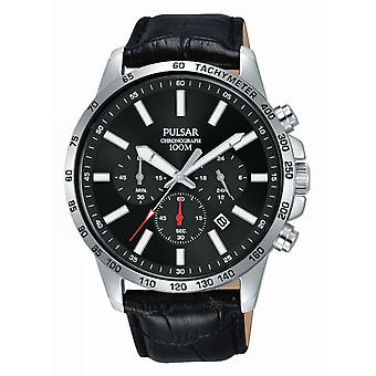 Pulsar PT3A01X1 Uhr - Chronograph/Dateur schwarz Leder Armband Bo Tier Silber Stahl Männer