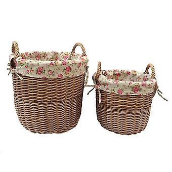 Set of 2 Light Steamed Lined Wicker Garden Rose Lined Bins