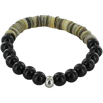 Michelsons of London Agate and Smokey Mother of Pearl Bracelet - Black/White