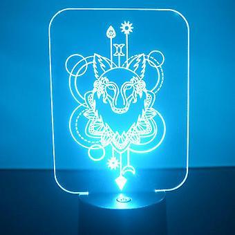 Wolf dekorative rektangel farge skiftende LED akryl lys