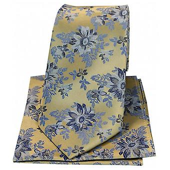Posh and Dandy Flowers Luxury Silk Tie and Hanky Set - Gold/Blue