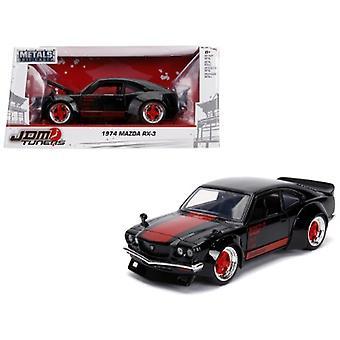 1974 Mazda RX-3 Black with Red Stripe JDM Tuners 1/24 Diecast Model Car by Jada
