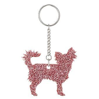 Light Pink Chihuahua Style 2 Glitter Acrylic Keyring