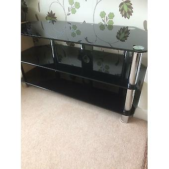 Darcy Black Glass & Chrome TV Stand RRP £79 Fits Up To 34