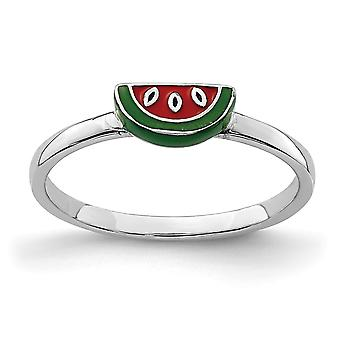 925 Sterling Silver Rhodium plated for boys or girls Enameled Watermelon Ring - Ring Size: 3 to 4