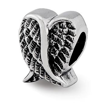 925 Sterling Silver finish Reflektioner Love Heart Shaped Angel Wings Bead Charm Hängande Halsband Smycken Gåvor för kvinnor